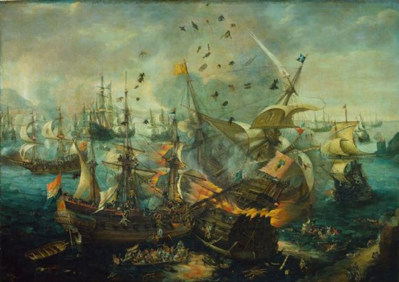 Van Wieringen, Cornelis Claes: The Explosion of the Spanish Flagship During the Battle of Gibraltar. Fine Art Print/Poster. Sizes: A4/A3/A2/A1 (0044)